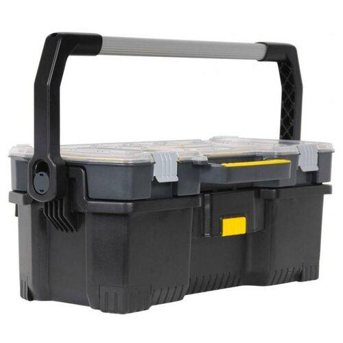 Ящик с органайзером STANLEY 1-97-514 67x32.3x25.1 см 24'' черный/желтый открытый профессиональный пластмассовый ящик со съемным органайзером stanley 24 67х32 3х25 1 см stanley 1 97 514 1 97 514