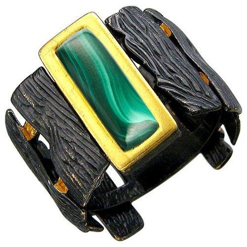 Эстет Кольцо с малахитами из чернёного серебра с позолотой 51К451027ПЧ, размер 18.5 ЭСТЕТ