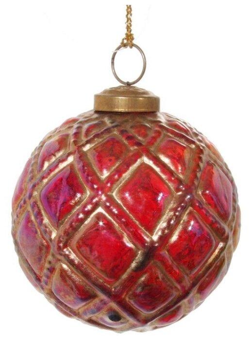 SHISHI, Винтажный ёлочный шар суарэ дорэ, стекло, красный с золотым, 10 см 48232