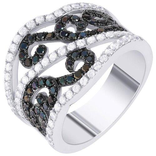 JV Кольцо с фианитами из серебра SL30152H1-001-WG, размер 18 фото