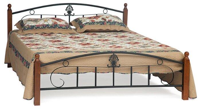 Кровать TetChair RUMBA AT-203 двуспальная, спальное место (ДхШ): 200х180 см, каркас: массив дерева, цвет: коричневый/черный