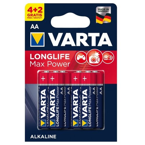 Фото - Батарейка VARTA LONGLIFE Max Power AA 6 шт блистер батарейка varta longlife c блистер 2шт