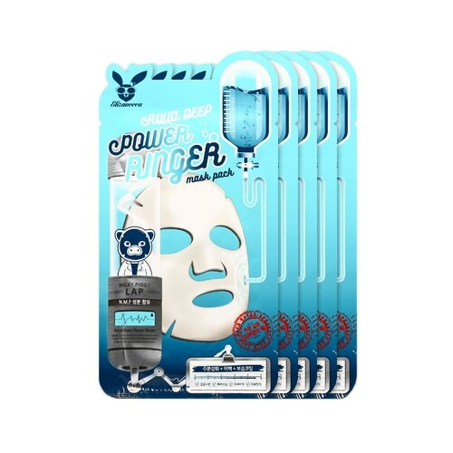 Elizavecca Увлажняющая тканевая маска Aqua Deep Power Ringer Mask Pack, 23 мл, 5 шт. увлажняющая маскарн 6 0–6 5aqua mask 200 мл