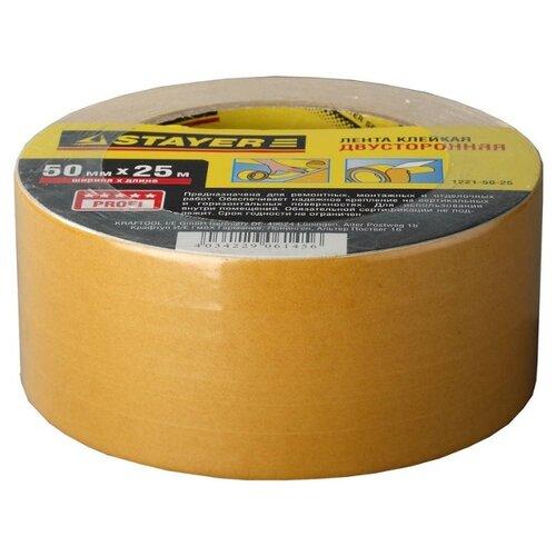 Клейкая лента монтажная STAYER 1221-50-25, 50 мм x 25 м лента клеящая на тканевой основе stayer professional 12086 50 50