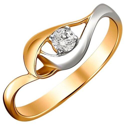 Эстет Кольцо с 1 фианитом из красного золота 01К1112311Р, размер 17 ЭСТЕТ