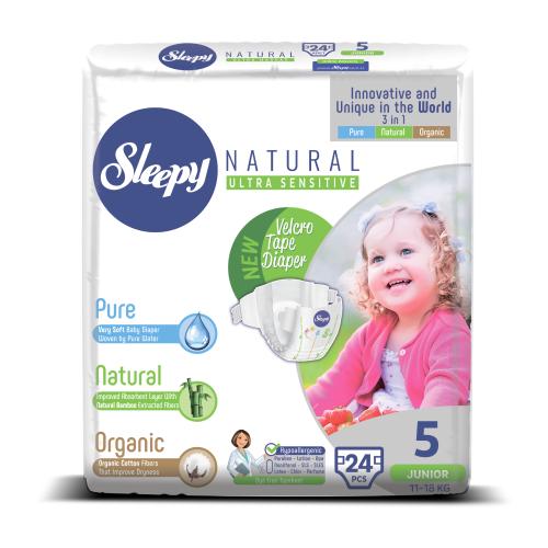 Купить Sleepy подгузники Natural Ultra Sensitive 5 (11-18 кг) 24 шт., Подгузники