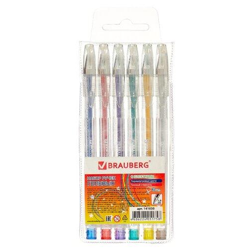 BRAUBERG набор гелевых ручек Jet 6 цветов (141030) ручка гелевая brauberg jet синий