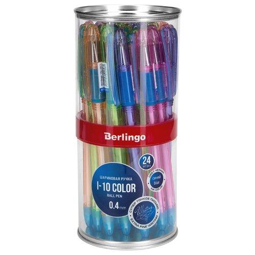 Купить Berlingo Набор шариковых ручек I-10 Color, 0.4 мм, 24 шт., синий цвет чернил, Ручки