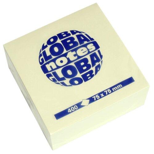 Global Notes блок-кубик с липким слоем 75х75 мм, 400 листов (382098/382001) желтый