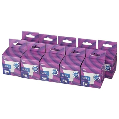 Упаковка светодиодных ламп 10 шт REV 32323 5, GU5.3, MR16, 5Вт упаковка светодиодных ламп 10 шт rev 32272 6 e14 c37 5вт