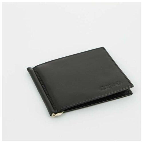 Портмоне S.Quire с клипом для денег, натуральная воловья кожа, черный, 11x9 см