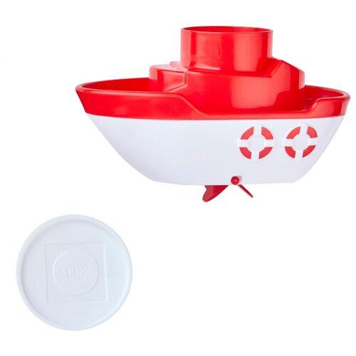 Игрушка для ванной Alex Лодочка (624050-3) белый/красный alex toys игрушка для ванной водяная дудочка