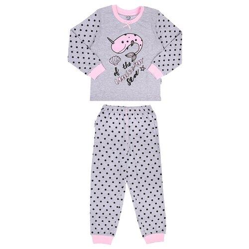Купить Пижама RuZ Kids размер 122-128, серый меланж/сиреневый, Домашняя одежда