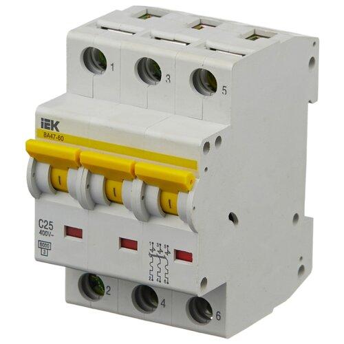 Автоматический выключатель IEK ВА 47-60 3P (C) 6kA 25 А iek mva41 2 006 c авт выкл ва 47 60 2р 6а 6 ка х ка с иэк