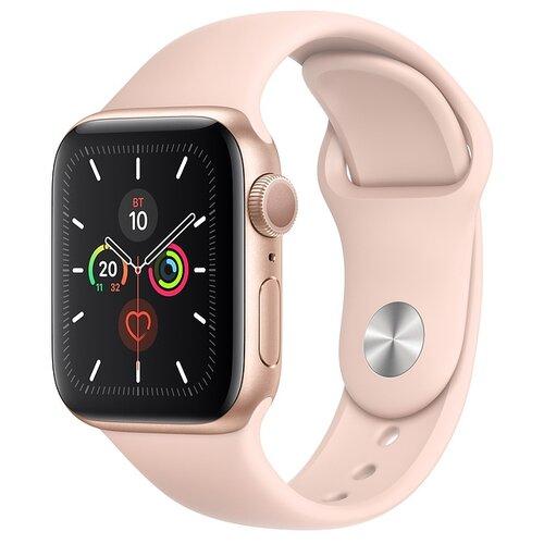 Часы Apple Watch Series 5 GPS 44mm Aluminum Case with Sport Band золотистый/розовый песок