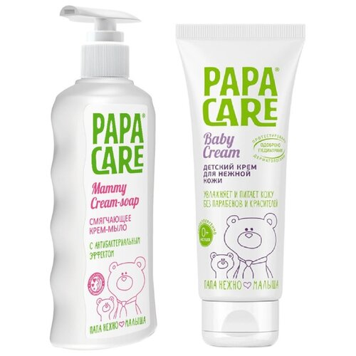 Купить Papa Care Набор: Жидкое Крем-мыло для мам Смягчающее 250 мл + Детский крем 100 мл, Уход за кожей