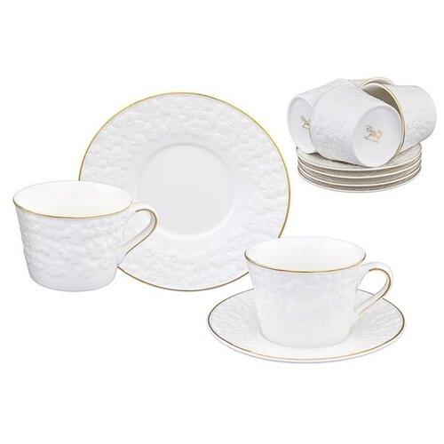 Чайный сервиз Elan gallery Белоснежные цветы 12 предметов 210 мл белый