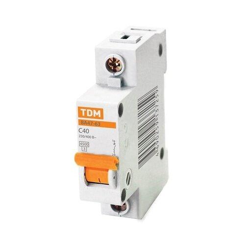 Автоматический выключатель TDM ЕLECTRIC ВА 47-63 1Р (C) 4,5kA 10 А выключатель автоматический однополюсный 6а c 4 5ka ва 47 63 ekf proxima