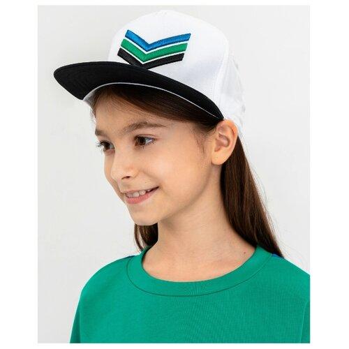 Купить Бейсболка Gulliver размер 54-56, белый/зеленый, Головные уборы