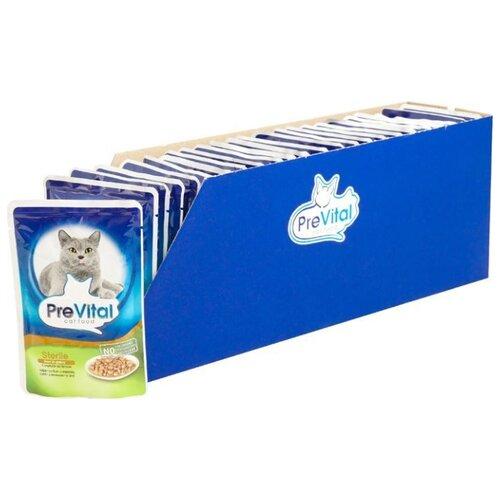 Корм для стерилизованных кошек PreVital с печенью 24шт. х 100 г (кусочки в соусе) корм для стерилизованных кошек мнямс с ягненком 100 г кусочки в соусе