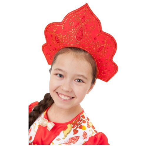 Купить Головной убор пуговка Красна-Девица (1041 к-18), красный, Карнавальные костюмы