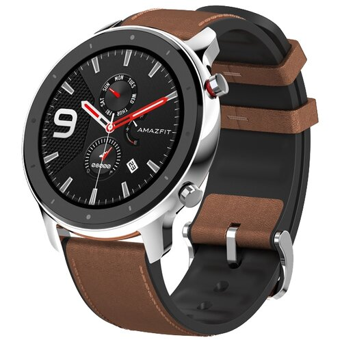 Умные часы c GPS Amazfit GTR 47 mm stainless steel case, leather strap brown