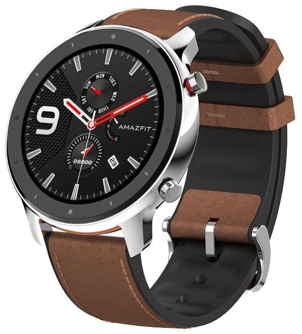 Часы Amazfit GTR 47mm stainless steel case, leather strap — купить по выгодной цене на Яндекс.Маркете