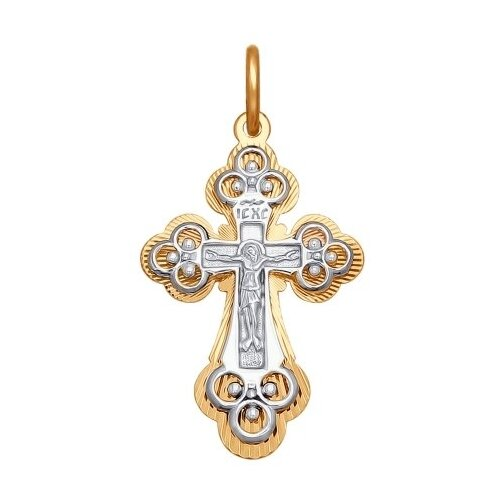 SOKOLOV Крест из комбинированного золота с алмазной гранью 120314 фото