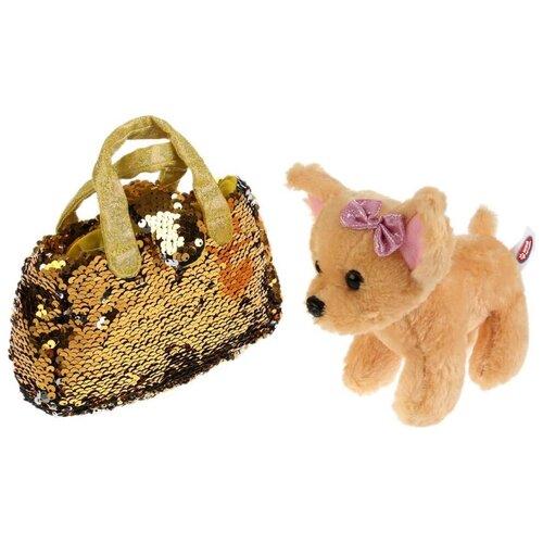 Купить Мягкая игрушка Мой питомец Собака в сумочке из пайеток золото 15 см, Мягкие игрушки
