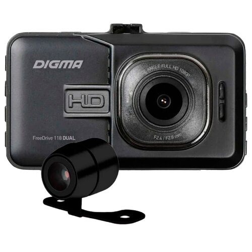 Видеорегистратор DIGMA FreeDrive 118 DUAL, 2 камеры черный видеорегистратор digma freedrive 118 черный