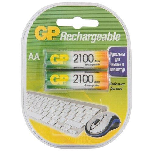 Фото - Аккумулятор Ni-Mh 2100 мА·ч GP Rechargeable 2100 Series AA 2 шт блистер аккумулятор smartbuy sbr 2a02bl2300 aa 2 шт
