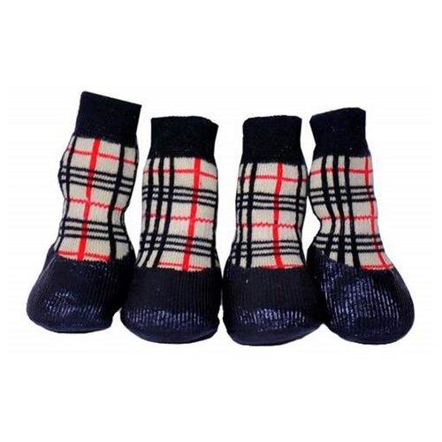 Носки для собак БАРБОСки для прогулки с латексным покрытием №5 XL в клеточку