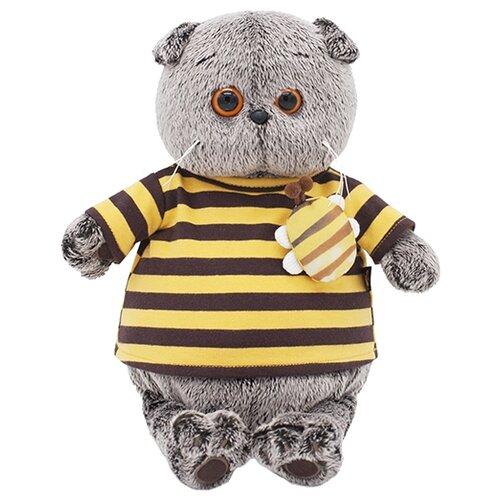Купить Мягкая игрушка Basik&Co Кот Басик в полосатой футболке с пчелой 22 см, Мягкие игрушки