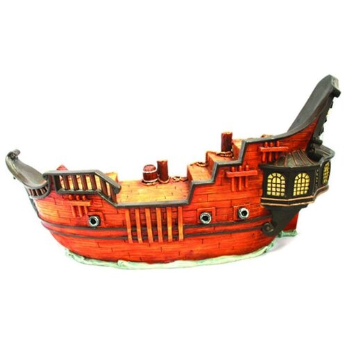 Фигурка для аквариума Prime Затонувший фрегат 38х11.5х20 см оранжевый/коричневый