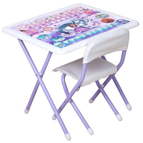 Купить Комплект ДЭМИ стол + стул Disney Funny София прекрасная (к3-06) 64x55 см белый/фиолетовый, Парты и столы