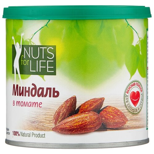 Фото - Миндаль Nuts for Life обжаренный в томате пластиковая банка 115 г кешью nuts for life обжаренный