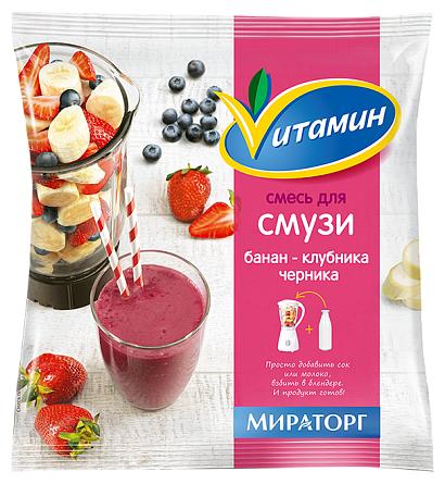 Vитамин Смесь для смузи банан-клубника-черника замороженная 270 г