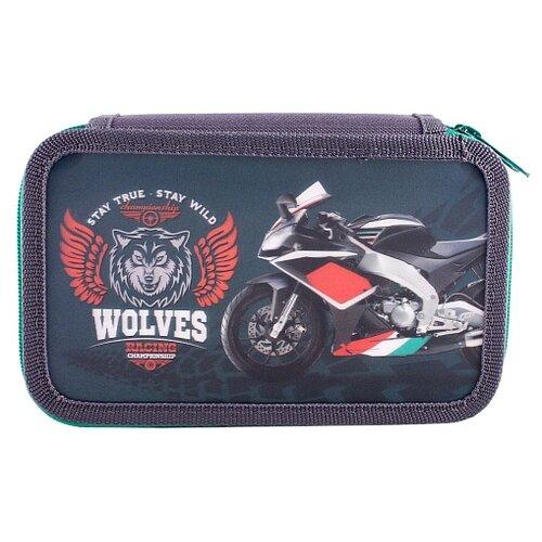 Купить Prof-Press Пенал Спортивный мотоцикл (ПН-2004) синий/фиолетовый, Пеналы