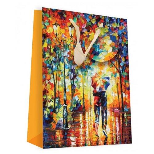 Пакет подарочный Perfect Craft Двое под зонтом 18 х 24 х 8 см желтый
