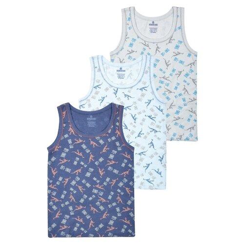 Купить Майка BAYKAR 3 шт., размер 122/128, светло-серый/голубой/синий, Белье и пляжная мода