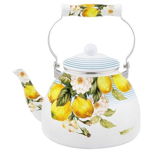 Metalloni Чайник Лимон 5 л, белый/желтый чайник greentop цвет белый желтый 2 5 л