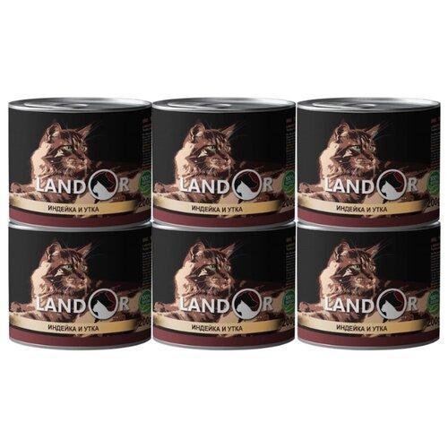 Корм для кошек Landor с индейкой, с уткой 6шт. х 200 г корм для кошек landor тунец