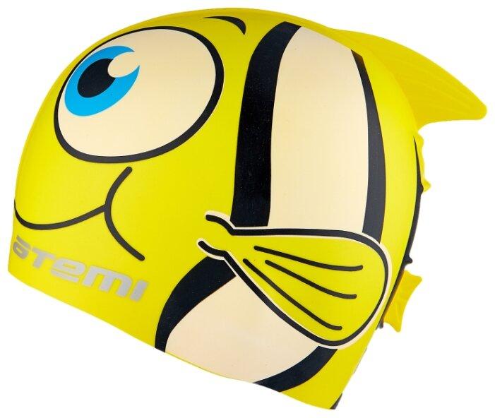 """Шапочка для плавания детская Атеми """"FC101. Рыбка+"""", силикон (желтый)"""