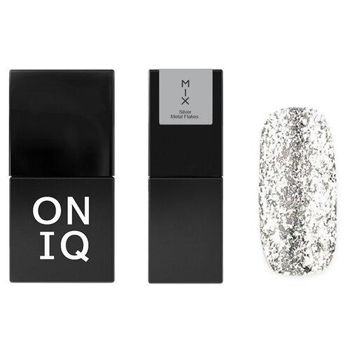 Гель-лак для ногтей ONIQ MIX, 10 мл, оттенок 106 Silver Metal Flakes гель лак для ногтей oniq mix 6 мл оттенок 104s green and pink yuki flakes