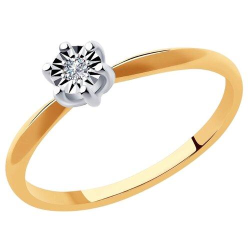 SOKOLOV Кольцо из комбинированного золота с бриллиантом 1011940, размер 15 sokolov кольцо из комбинированного золота с бриллиантом 1011940 размер 17 5