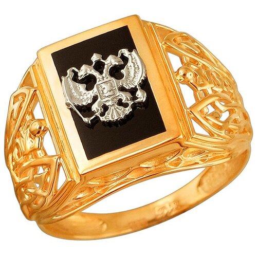 Эстет Кольцо с 1 ониксом из комбинированного золота 01Т4611718-1, размер 19 ЭСТЕТ