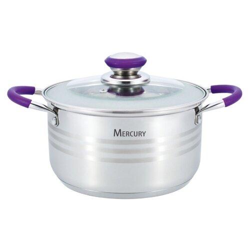 Кастрюля Mercury MC-6311, 2.6 л, серебристый/фиолетовый