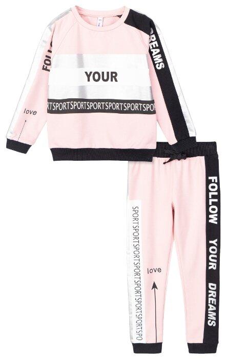 Спортивный костюм playToday размер 104, светло-розовый/черный/белый/серебристый