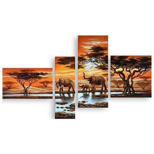 Модульная картина на холсте Слоны 150x88 см