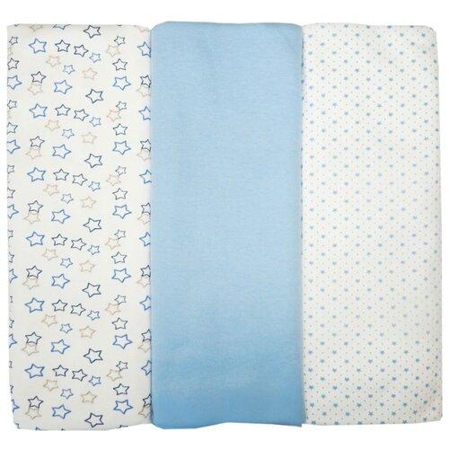Купить Многоразовые пеленки Папитто интерлок 120х90 набор 3 шт. голубой, Пеленки, клеенки